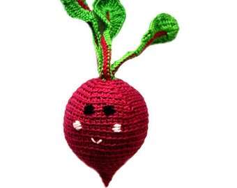 Beetroot baby rattle