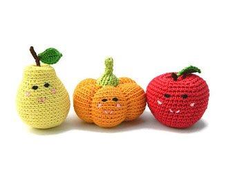 3 pcs Organic Baby Rattles Toys Pear Pumpkin Apple